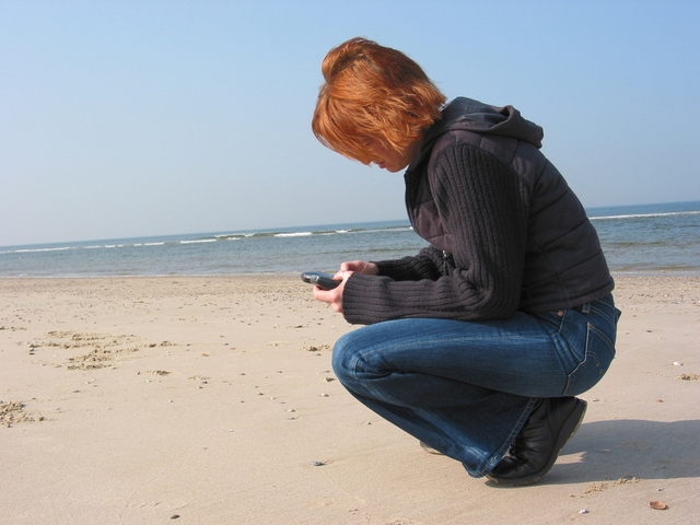Phone on beach